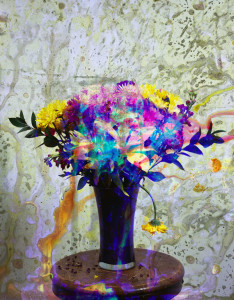 "Bouquet No. 3 // 2012 // 28"" x 22"" // Archival Ink Jet Print of color Photogram, ed of 6 plus 2 A.P. (larger size edition of 3 + 1 A.P.)"