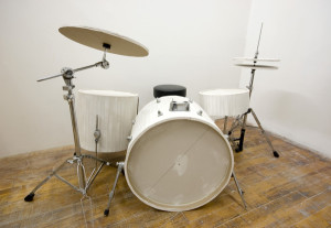 16th's on Center // Drywall, reclaimed drum set hardware // 2012