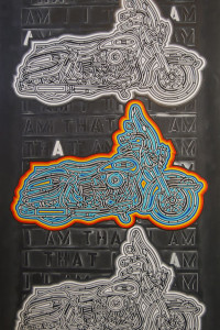 "Jon Waldo, Harley for Brion Gysin, 2012, acrylic and modeling paste on canvas, 72"" x 48"""