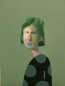 "Untitled Portrait with Green Painted Hair and Dots // 212 // 18"" x 24"" //  Oil on Canvas"