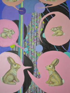 "Bunny Business / 2011 / Oil on Canvas / 40"" x 30"" by David Reninger"