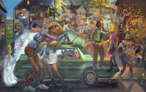 "Tom Torluemke, Ring Around the Rosie 2011, acrylic oncanvas, 76"" x 116 5/8"