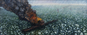 "Eric Edward Esper, The Water Crib Fire, 2013, oil on linen, 20"" x 48"""