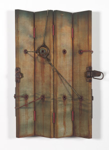 "Jason Brammer, ""Binding The Boundless II,""2013, acrylic, plaster, antique hardware, metal, twine and wood,        24"" x 16"" x 2"""