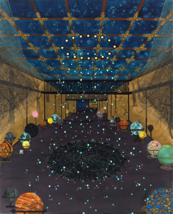 "Michiko Itatani, ""Cosmic Wanderlust"" painting from CTRL-HOME/Echo CRH-7, 2011, oil on canvas, 96"" x 78"""
