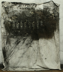 "Matthew Woodward, ""Irving Street,"" 2012, graphite and charcoal on paper and bed sheet, 81"" x 96"""