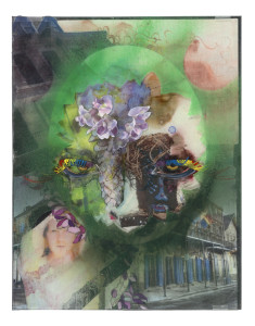 "bourbon (Loretta Bourque & Rob Bondgren), gris gris, 2014, photo transfer, collage, oil, ink, acrylic, spray paint and polyester film on glass, 14"" x 11"""