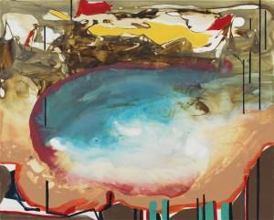 "Kim Piotrowski, Poolside, 2014, acrylic ink on panel, 8"" x 10"""