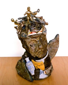 "Philip J Capuano, ""Spoken,"" 2008, clay, cement, paint and trophies, 14"" x 10"" x 11"""