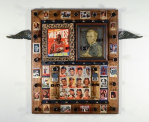 "Philip J Capuano, ""Window of Fame,"" 1992, mixed media, approx. 32"" x 36"""