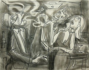 Happy Smokers, 2014, charcoal & graphite on board, 32 x 40″
