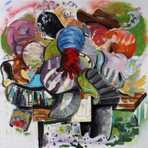 "Michael Stillion, Human Noise, 2015,                                      mixed media on canvas, 66"" x 66"""