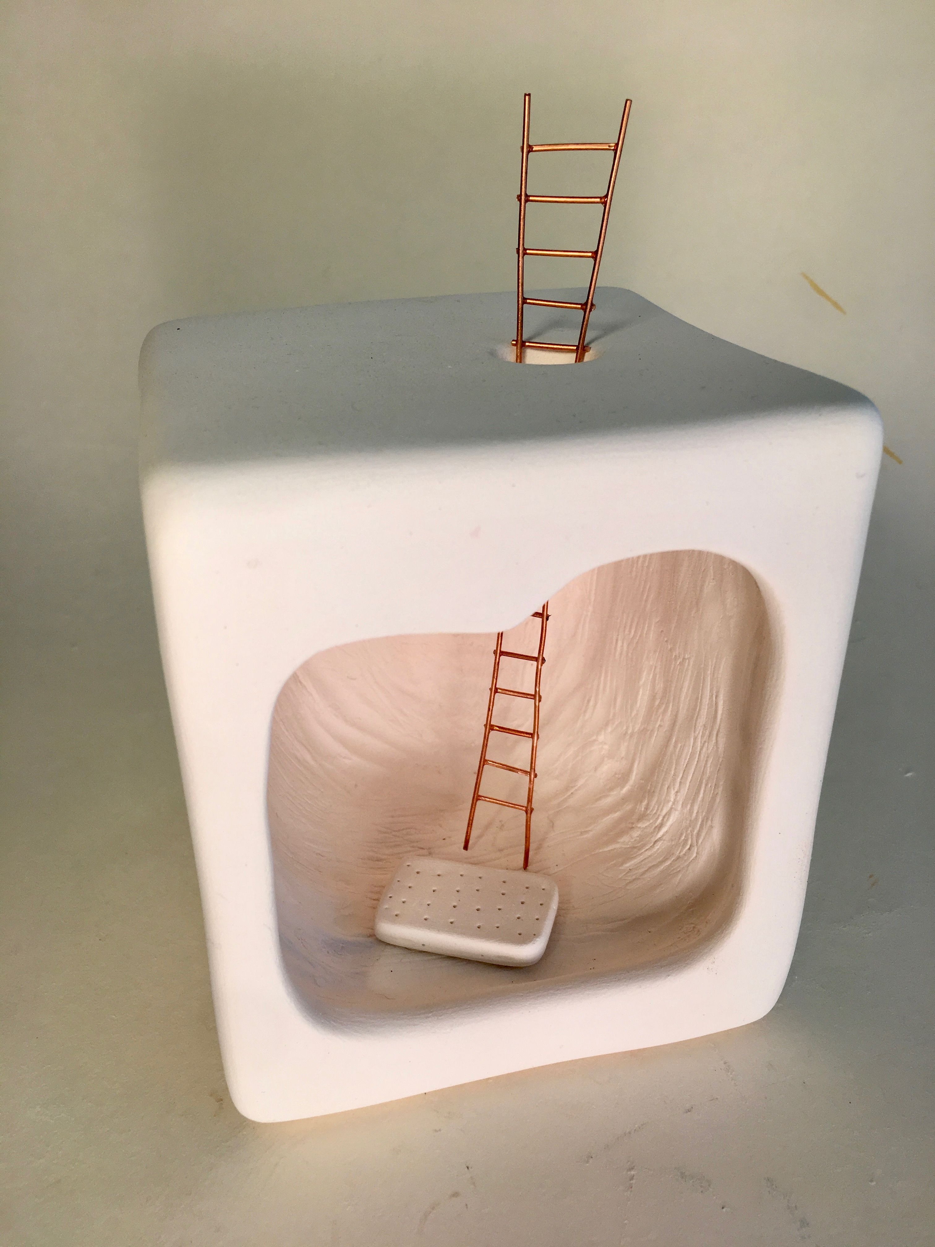 Alone But Not Lonely 2018 Unglazed Porcelain With Led Light